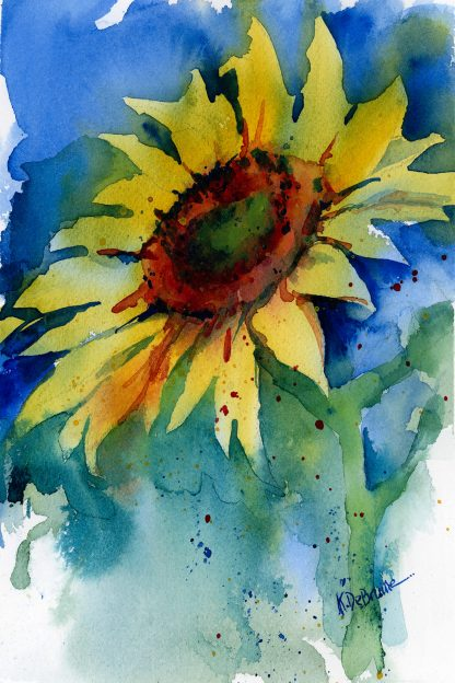 Watercolor Painting - Sunflower Out of the Blue